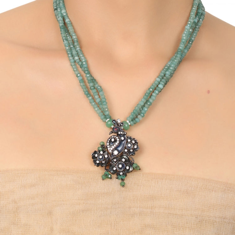 SILVER PLATED PURNA AQUA JADE PEACOCK VICTORIAN NECKLACE SET