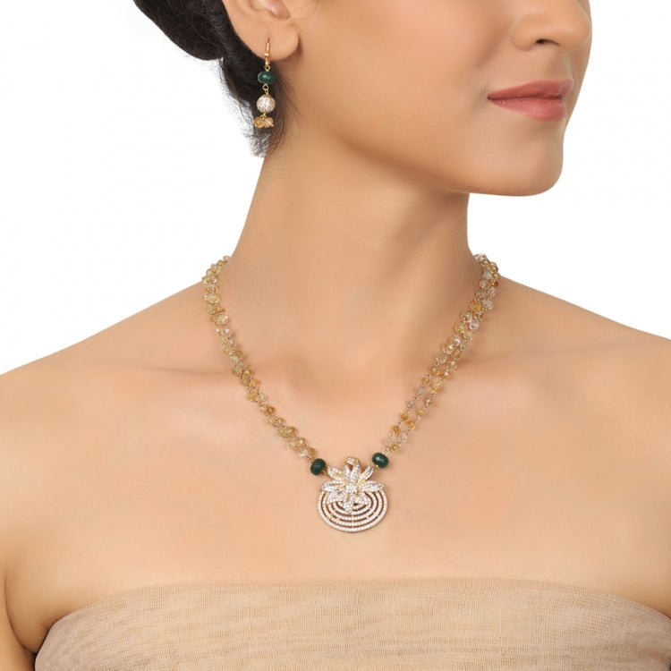 GOLD PLATED PURNA CITRINE ZIRCON NECKLACE SET