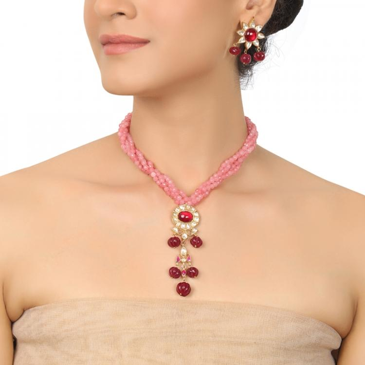 GOLD PLATED PURNA PINK KUNDAN NECKLACE SET