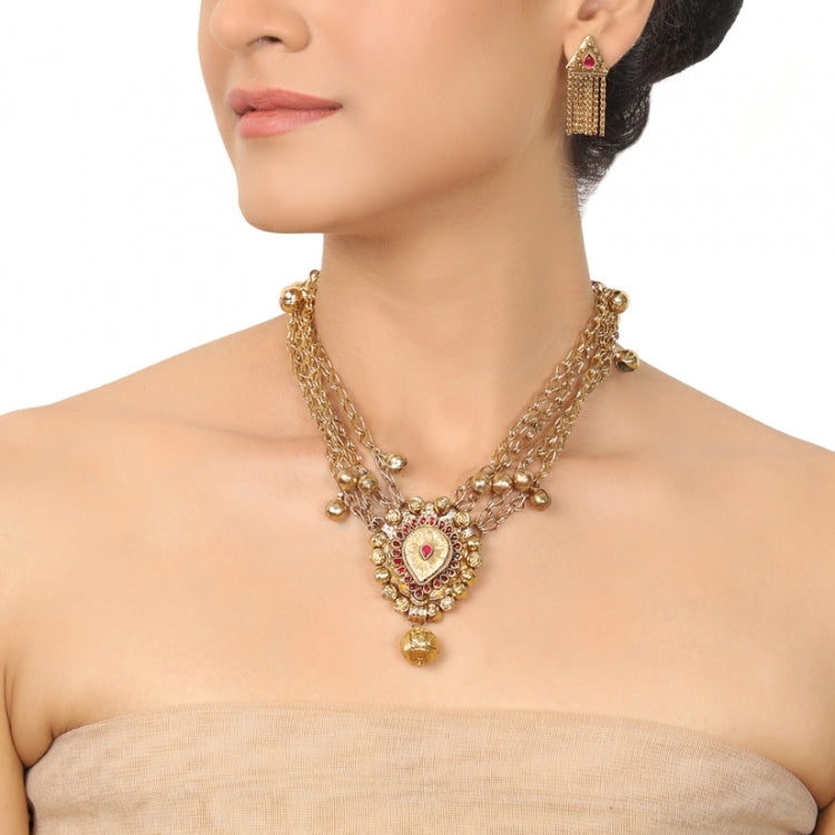GOLD PLATED PURNA GOLD KUNDAN NECKLACE SET