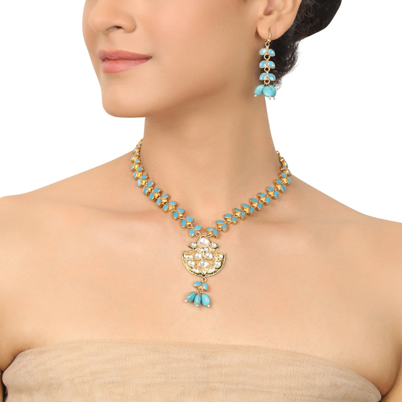 GOLD PLATED PURNA TURQUOISE KUNDAN NECKLACE SET