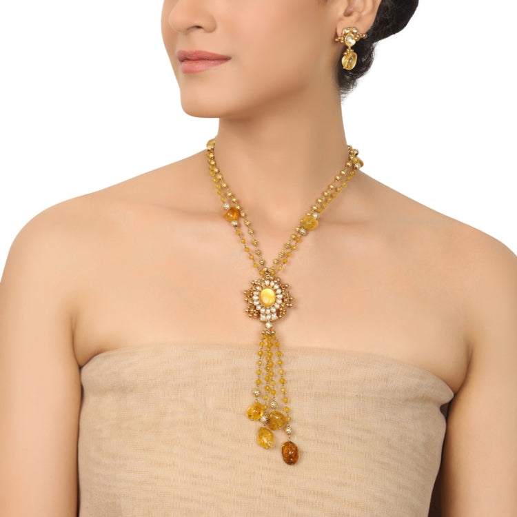 GOLD PLATED PURNA YELLOW TOPAZ KUNDAN NECKLACE SET