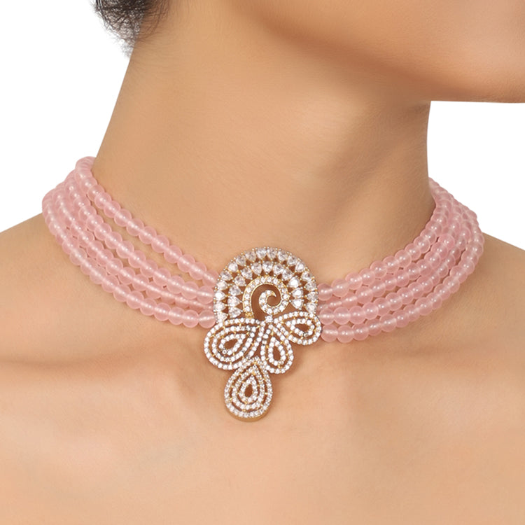 GOLD PLATED PURNA PINK STUDDED NECKLACE SET