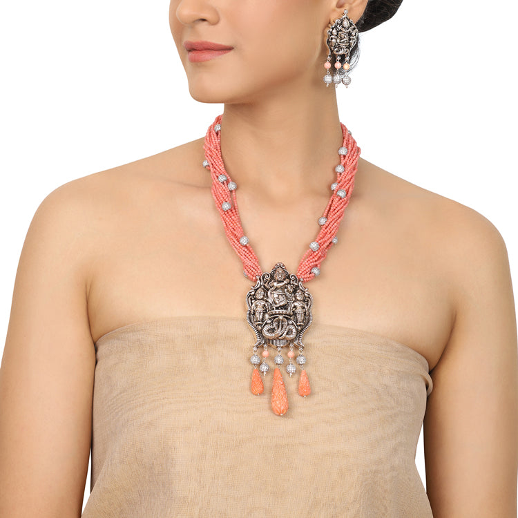 Silver Plated Deva Krishana Pink Coral Necklace Set