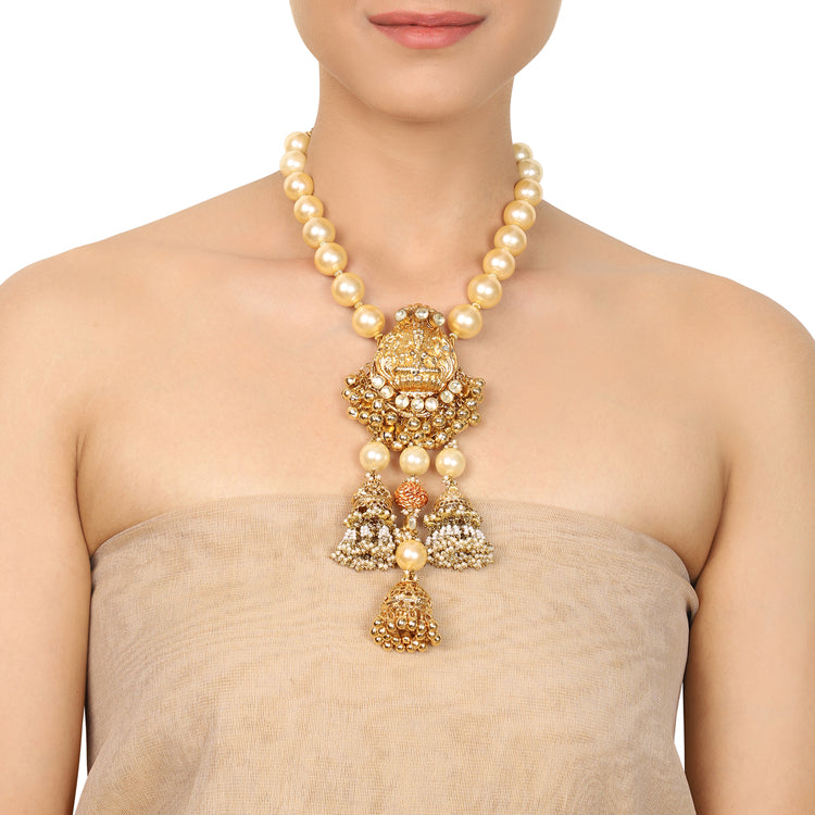 Gold Plated Deva Lakshmi Kundan Statement Necklace