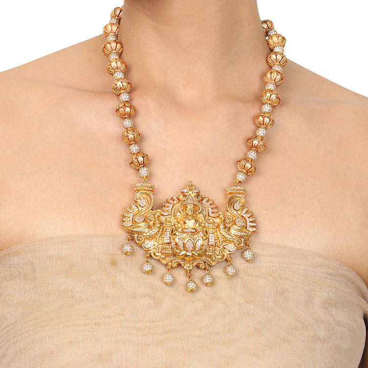 Gold Plated Deva Lakshmi Zircon Necklace Set