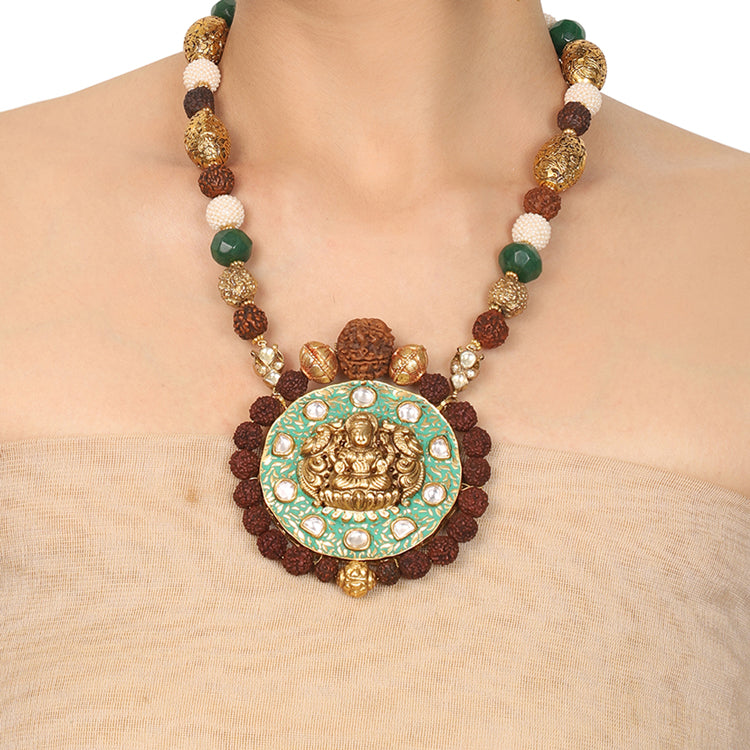 Gold Plated Deva Lakshmi Green Enamel Rudraksh Necklace Set