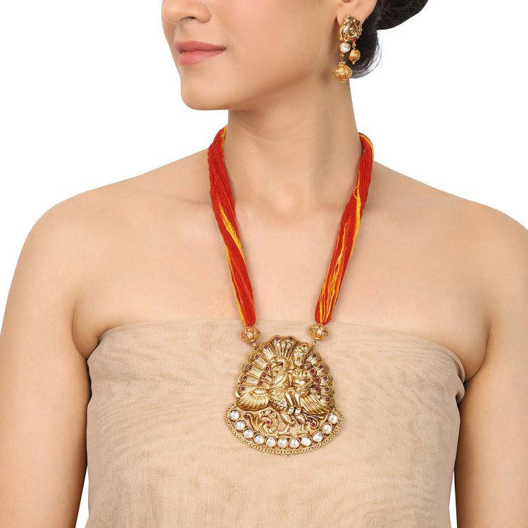Gold Plated Deva Kartikeya Red Necklace Set