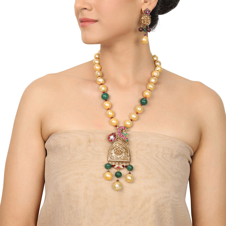 Gold Plated Deva Yaksha Kundan Necklace Set