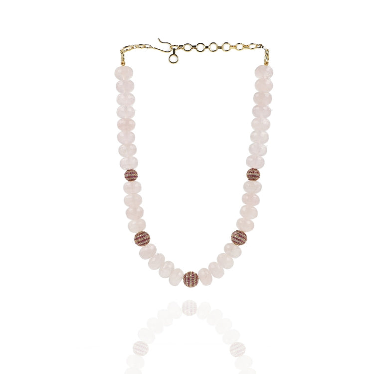 GOLD PLATED PURNA ZIRCON PINK NECKLACE SET