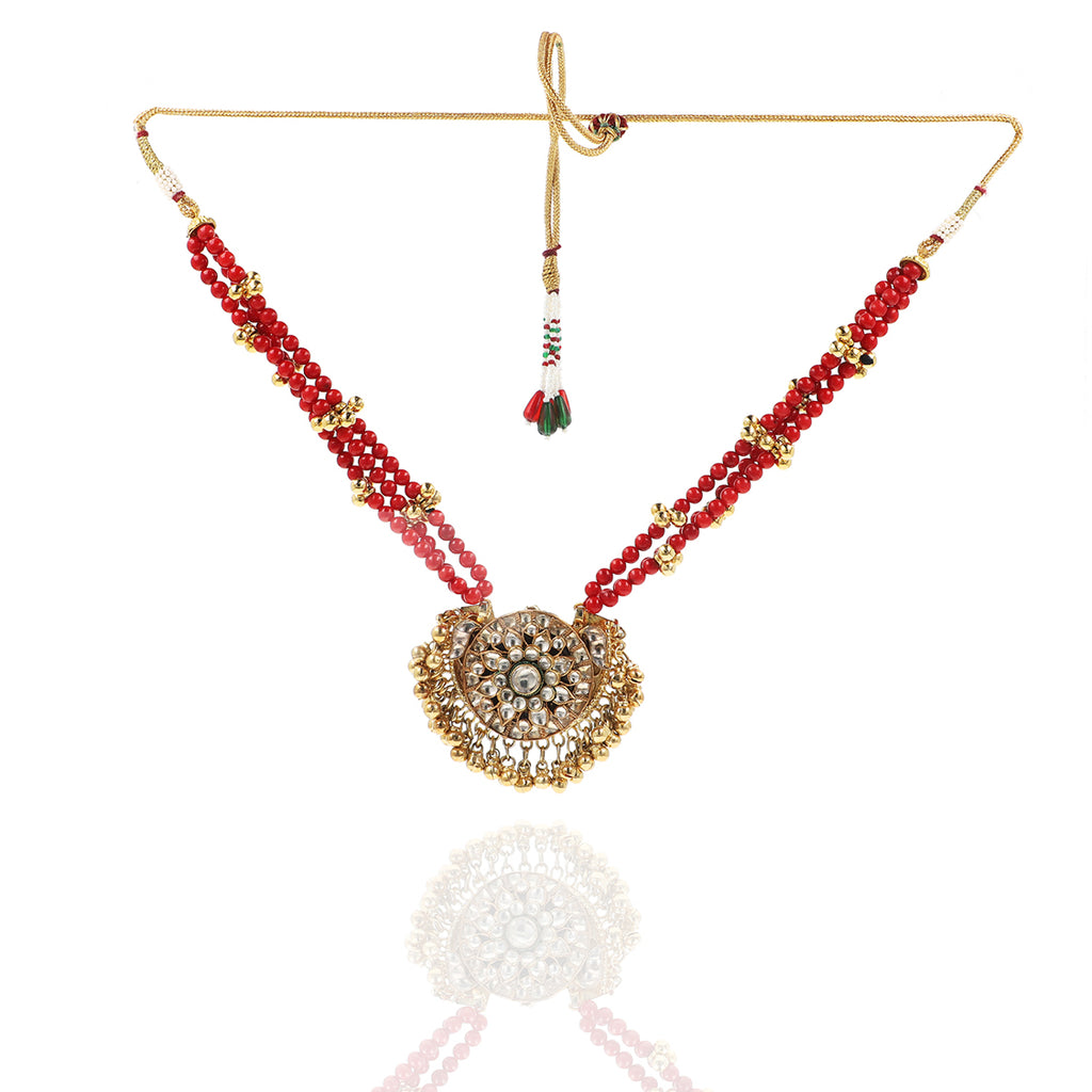 GOLD PLATED PURNA CORAL KUNDAN NECKLACE SET