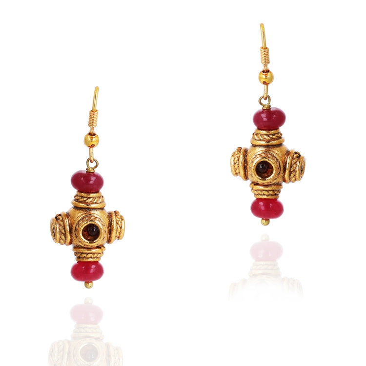GOLD PLATED PURNA RED KUNDAN NECKLACE SET
