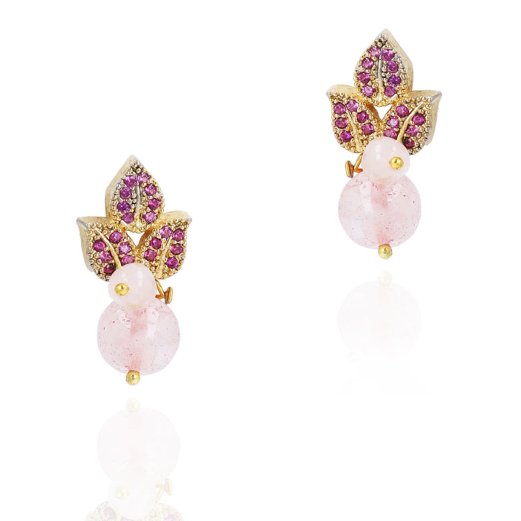 GOLD PLATED PURNA PINK RUBY NECKLACE SET