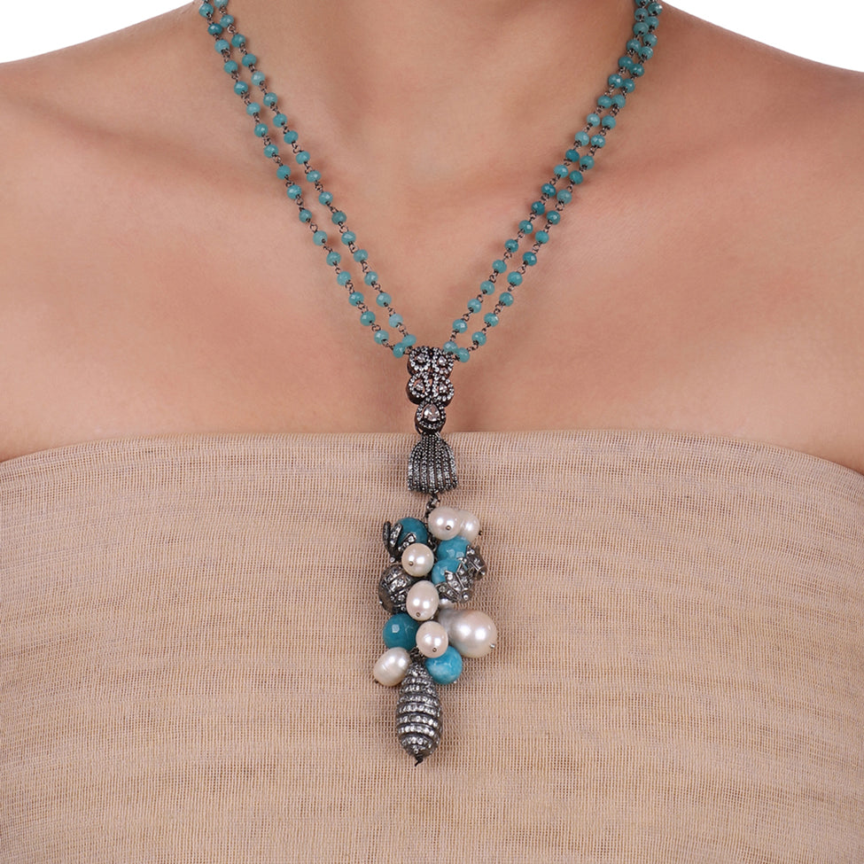 Silver Plated Celestial Pearl Turquoise  Necklace set