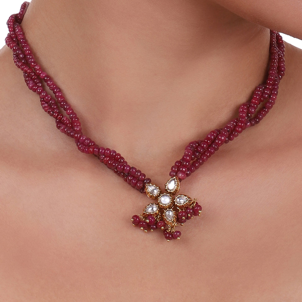 Gold Plated Celestial Flower Ruby Necklace Set