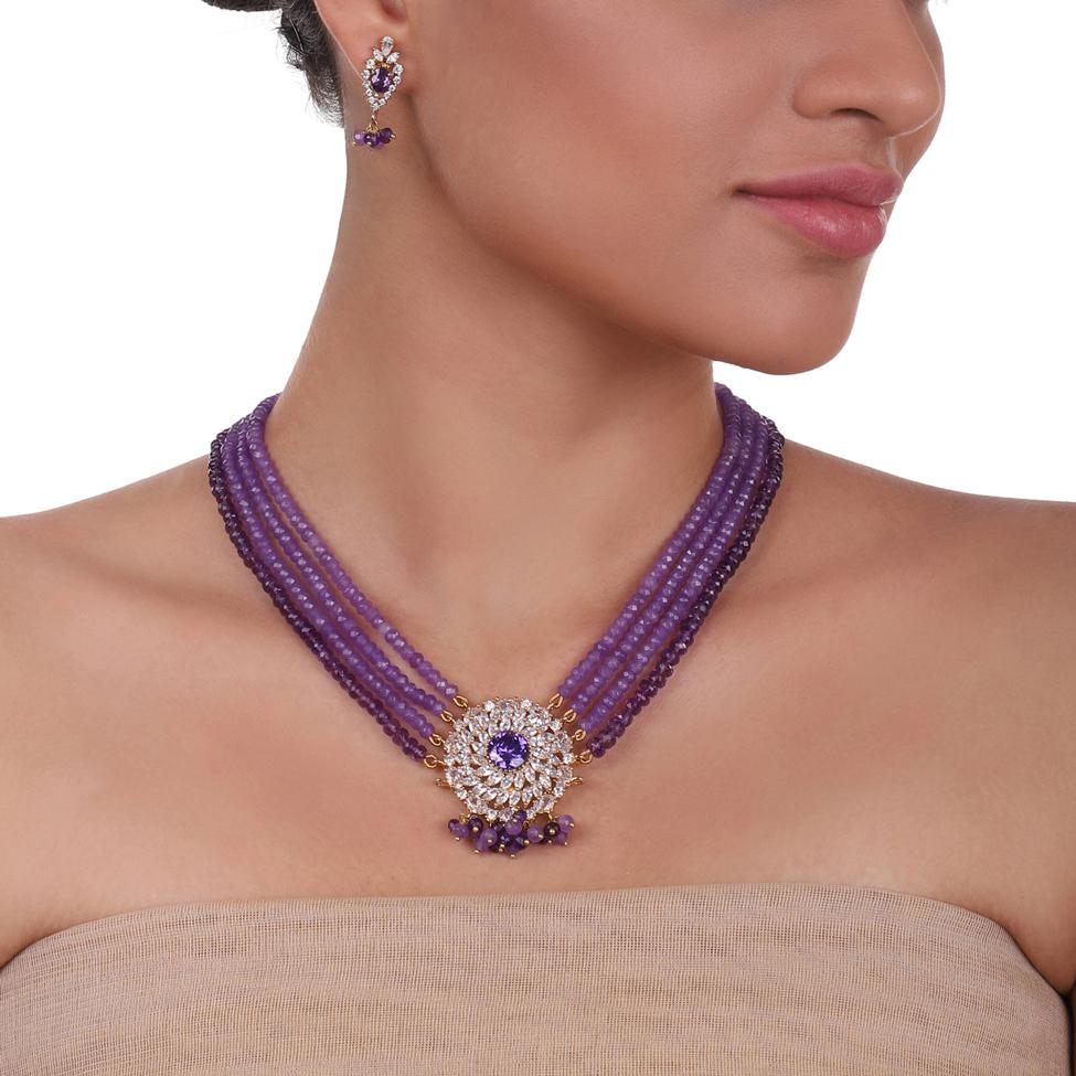 Gold Plated Celestial Amethyst Necklace Set