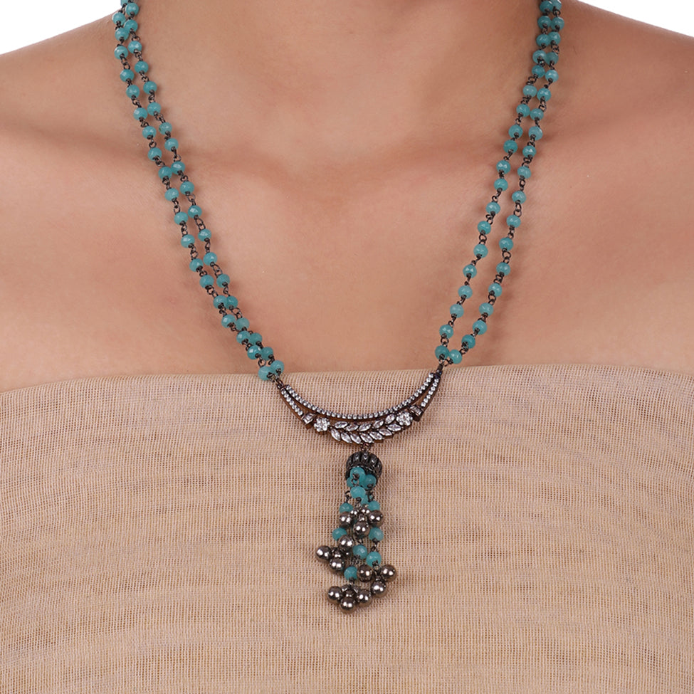 Silver Plated Celestial Turquoise Necklace Set