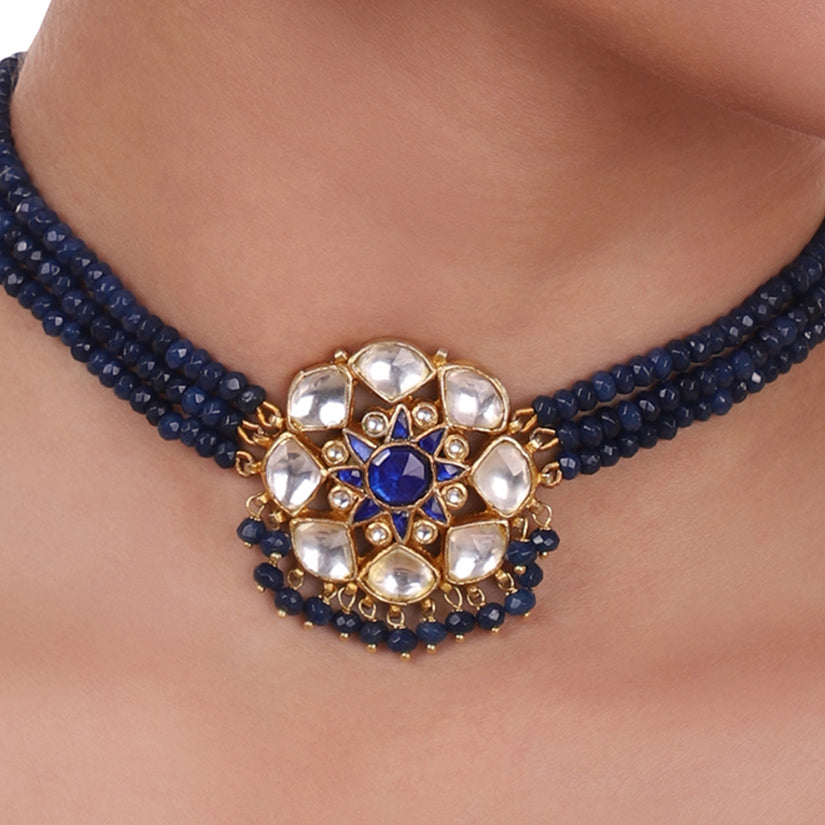 Gold Plated Pacchi Blue Iolite Choker Set