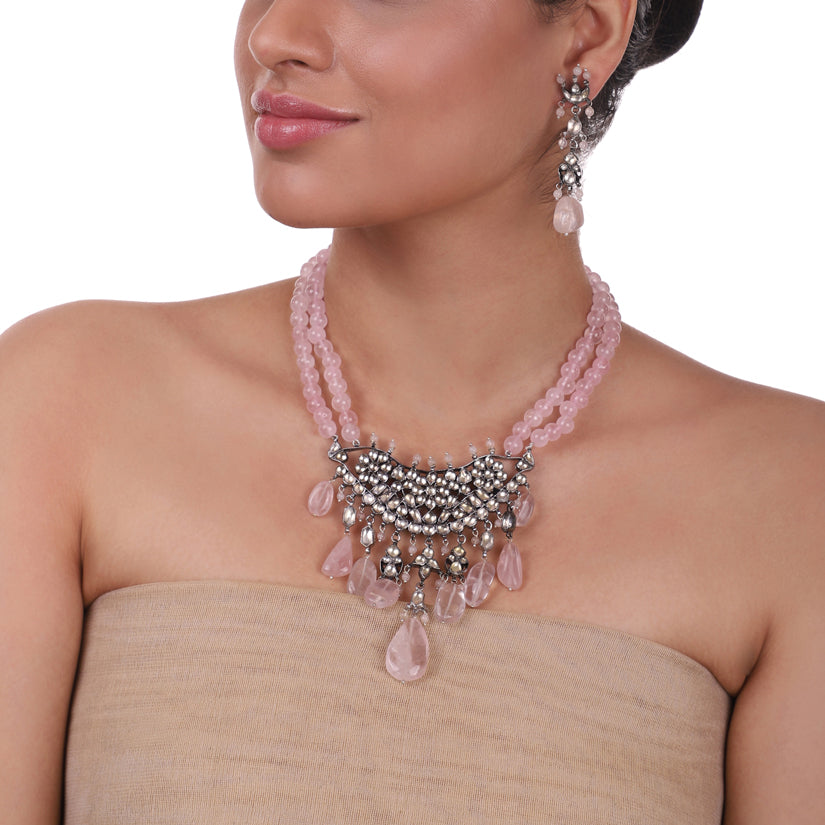 Silver Plated Pacchi Rose Quartz Necklace Set