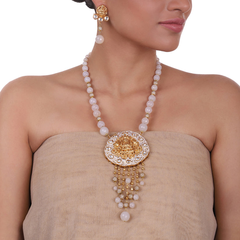 Gold Plated Sankranti Temple White Necklace Set