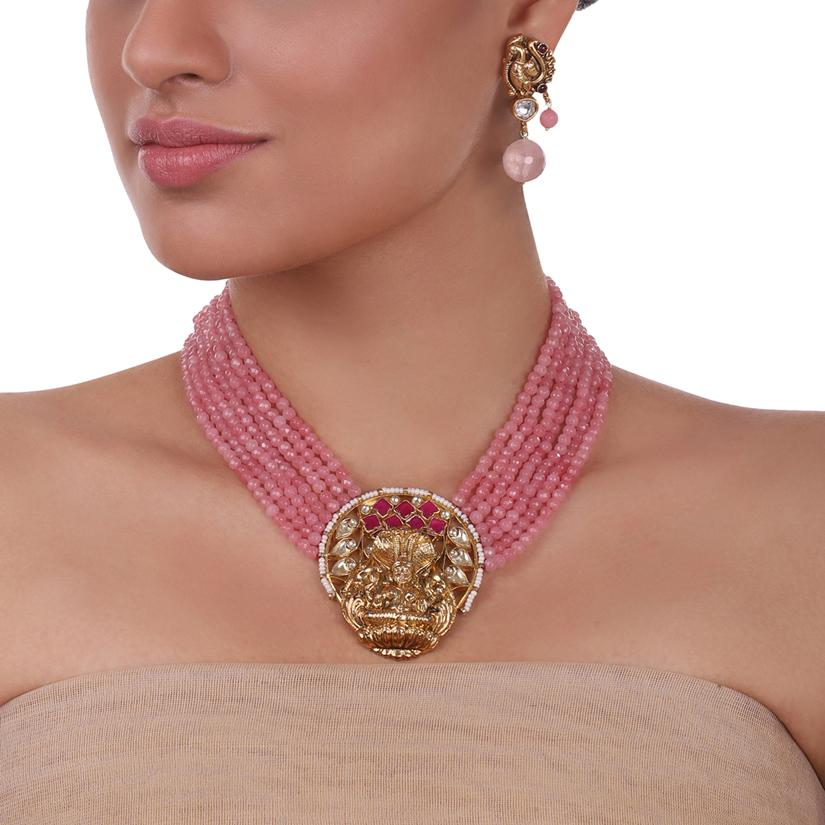 Gold Plated Sankranti Temple Rose Quartz Necklace Set