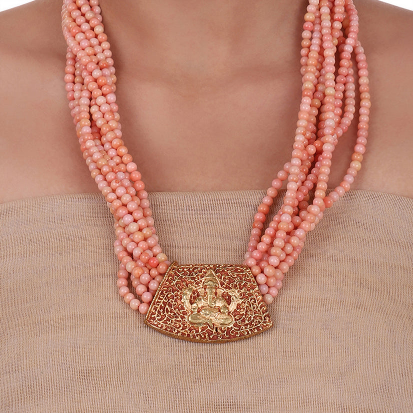Gold Plated Sankranti Temple Pink Coral  Necklace Set