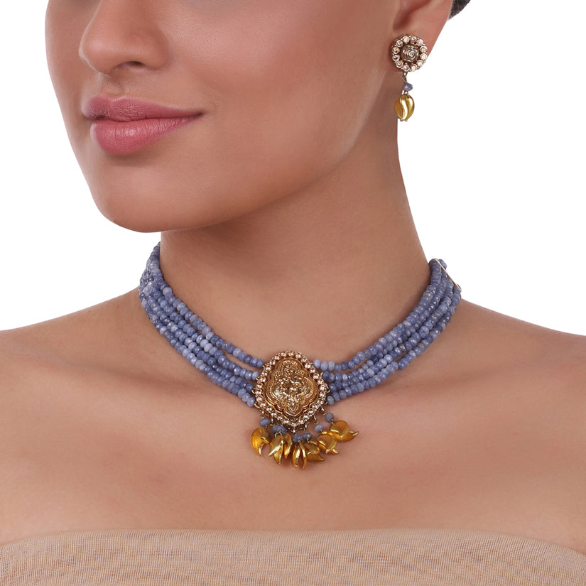 Gold Plated Sankranti Temple Ganesha Necklace Set