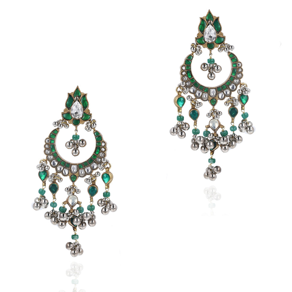 Gold & Silver Plated Mishran Green Kundan Chandbali Earrings