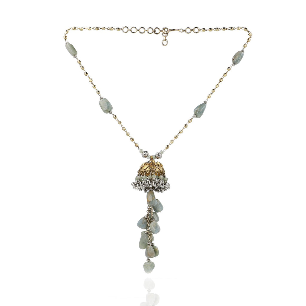 Gold & Silver Plated Mishran Prehnite Kundan Tassel Necklace Set