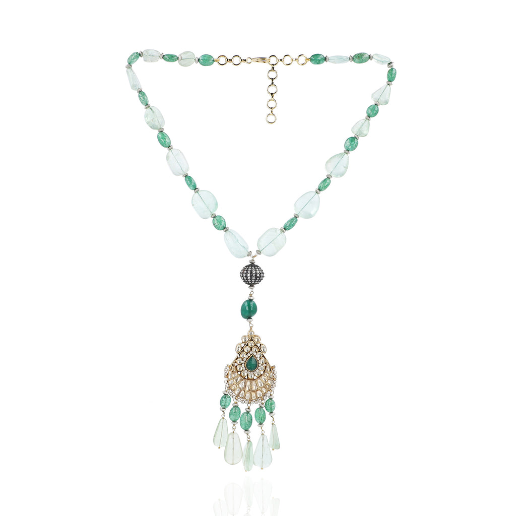 Gold & Silver Plated Mishran Green Kundan Pendant Necklace