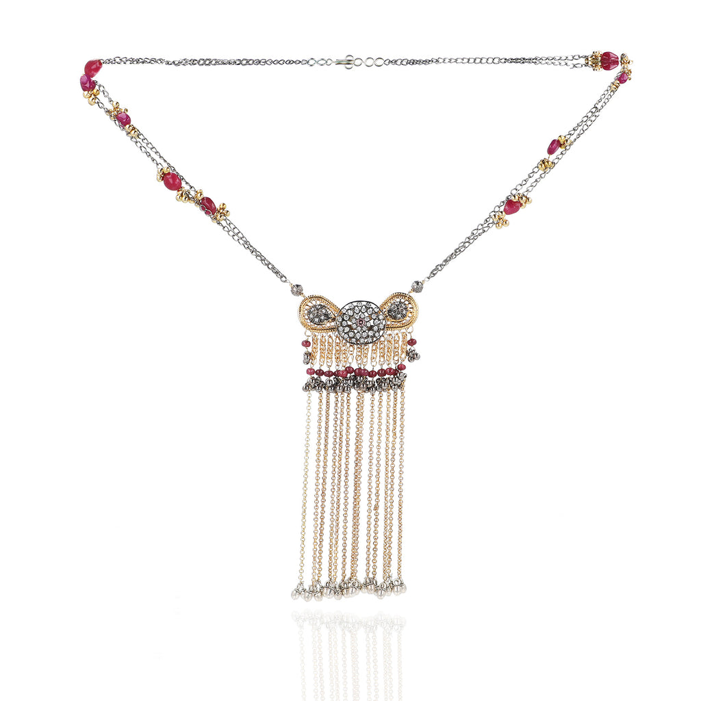 Gold & Silver Plated Mishran Red Zircon Tassel Necklace