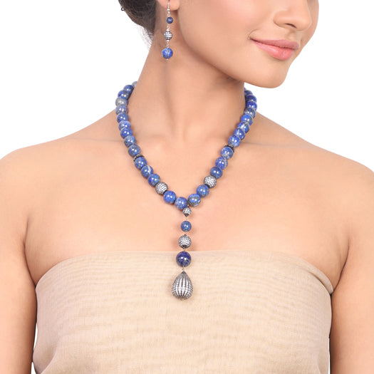 Silver Plated Dor Lapiz Zircon Necklace Set