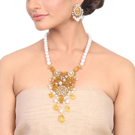 Gold Plated Manihaar Citrine Kundan Necklace Set