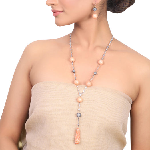 Silver Plated Dor Zircon Pink Coral Necklace Set