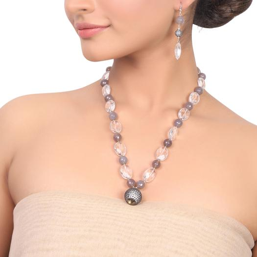 Silver Plated Dor Crystal  Zircon Necklace Set
