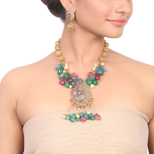 Gold Plated Manihaar Green Aventurine Necklace Set