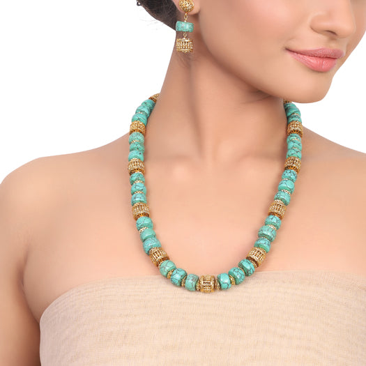 Gold  Plated Dor Turquoise Golden Necklace Set