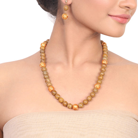 Gold Plated Dor Jasper Gold Necklace Set