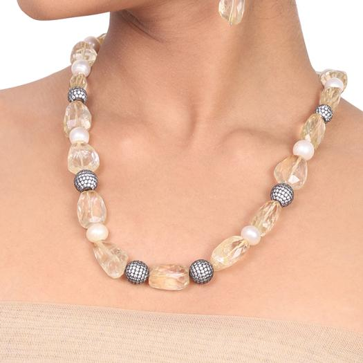 Silver Plated Dor Citrine  Necklace set