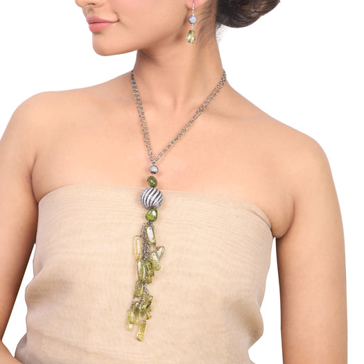 Silver Plated Dor Peridot Zircon Necklace Set