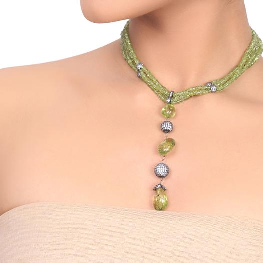 Silver Plated Dor Peridot  Necklace set