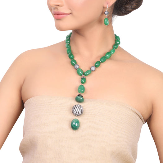 Silver Plated Dor Green Onyx Zircon ball  Necklace Set