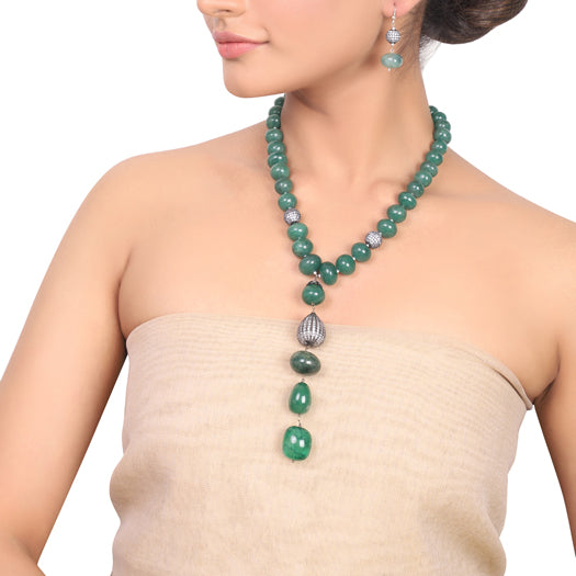 Silver Plated Dor Green Onyx  Zircon Necklace Set