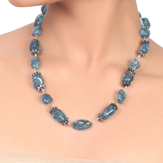 Silver Plated Dor Blue Agate Necklace Set