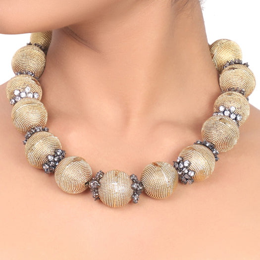 Gold Plated Dor Zircon Ball Necklace Set