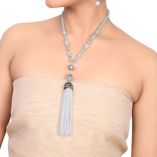 Silver Plated Dor Aqua Jade Necklace Set