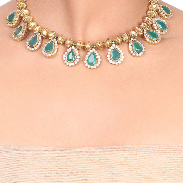 Gold Plated Samastham Green Zircon Drop Necklace Set