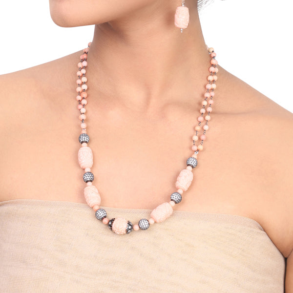 Silver Plated Samastham Pink Carved Coral Zircon Ball Necklace Set