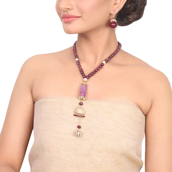 Gold Plated Samastham Ruby & Zircon  Necklace Set