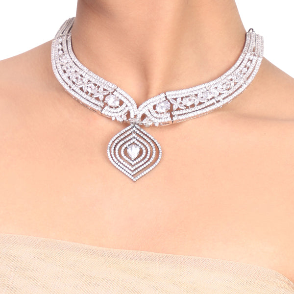 Silver Plated Samastham Zircon Collar Necklace Set